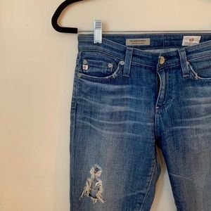 AG distresses super skinny ankle jeans, size Small